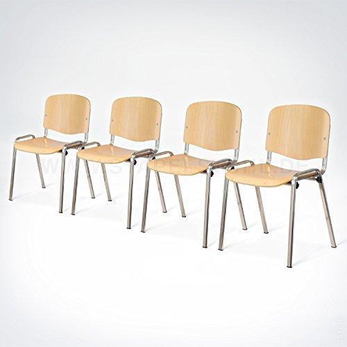 16x ISO Wood Deluxe Kantinenstuhl, Stapelstuhl, Konferenzstuhl, Bankettstuhl, Stapelstühle, Seminarstühle