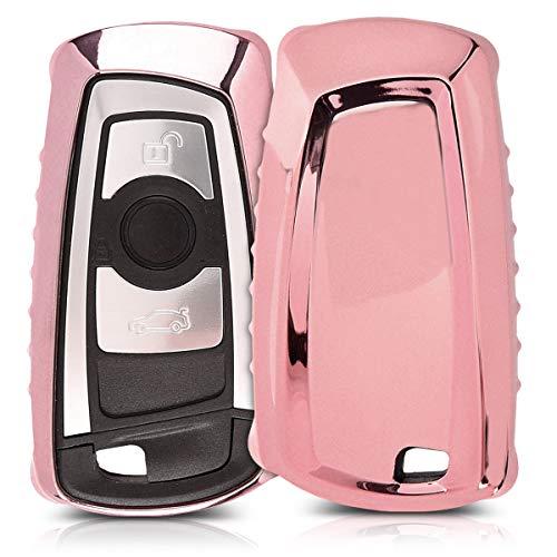 kwmobile Autoschlüssel Hülle für BMW - TPU Schutzhülle Schlüsselhülle Cover für BMW 3-Tasten Funk Autoschlüssel (nur Keyless Go) Hochglanz Rosegold