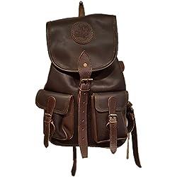 Mochila fabricada en piel marrón con 2 bolsillos