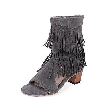 Sandali da donna Primavera Estate Comfort in pelle taffettata Casual Chunky Tacco nappa Walking Gray