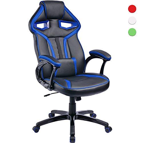 Silla de videojuegos, asiento racer con reposacabezas, cojín lumbar ajustable y función mecedora, silla de gamer para oficina en casa, trabajo o consola de juego, asiento gaming con ajuste de altura