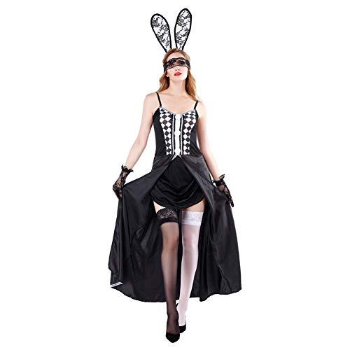 FGDJTYYJ Cosplay Bunny kostüm, europäischen und amerikanischen Halloween Bunny bühnenkleid Nacht Zeigen ds kostüm (Kaninchen Ohren + Kleid + Spitze + Handschuhe),M