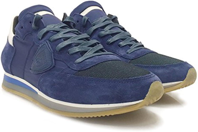 Philippe Model Herren Sneaker Low Tropez L U Mondial Bleu/Blanc   Hochwertige Designer Sneaker aus Leder und Stoff