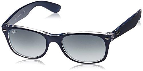 Ray-Ban Unisex - Erwachsene Sonnenbrille New Wayfarer, Gr. 52mm (Gestell:  Blau, Transparent; Gläser: grau verlauf)