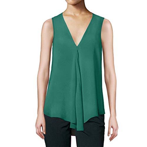 POPLY Frauen Tank Shirt Explosion Saum Unregelmäßiges Chiffon Top Sexy Tiefes V-Ausschnitt Lose Einfarbige ärmellose Weste(Green,M)