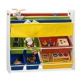 Relaxdays Kinderregal mit Regalboxen u. Hängefächern, Aufbewahrungsregal, buntes Spielzeugregal, HBT 78,5 x 86 x 26,5 cm