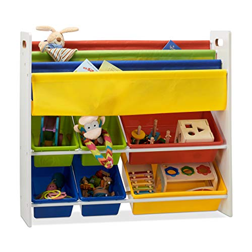 Relaxdays Kinderregal mit Regalboxen u. Hängefächern, Aufbewahrungsregal, es Spielzeugregal, HBT 78,5 x 86 x 26,5 cm Bunt
