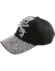 VISER Versione coreana europea e americana Unisex Ragazzi Ragazze Donna Uomo regolabile Diamante con strass tempestato da tennis Baseball Cappellino da sole cappello piatto Maglia copricapo Protezione Abbigliamento