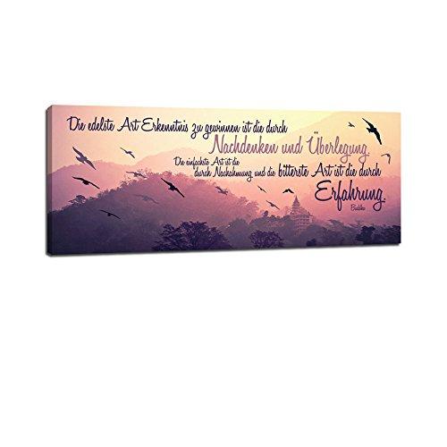 Dalinda® XXL-Wandbild Leinwand Leinwandbild mit Spruch Erkenntnis und Erfahrung… 100x40cm Keilrahmenbild Kunstdruck Wandbild Panorama Leinwandbild LS122
