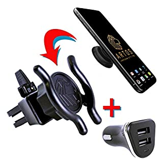 Upgraded Pop Socket Car Mount - Cell Phone Holder | Stable Air Vent Adapter Easy Navigation | Includes Dual 2.4A USB Charger | Exclusively from Artos