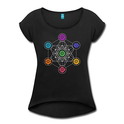 Spreadshirt Energiezentren Metatron Würfel Chakra Chakren Frauen T-Shirt mit Gerollten Ärmeln, S, Schwarz
