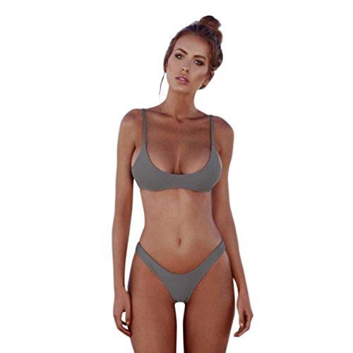 Badeanzug Bademode Damen BH Bandage Bikini Set Schwimmanzug Brasilianische Top Strandmode Bikinioberteil Swimsuit Bademode Blumen Oberteil Beachwear Support Badenanzug Schwimmanzug (Grau, M) (Support-tankini-top)