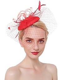 QXX Estilo Europeo y Americano Boda Fascinator Sombreros con Velo Banquete  Etapa Headwear Nupcial Tocado Pinza ffc14c3a32b