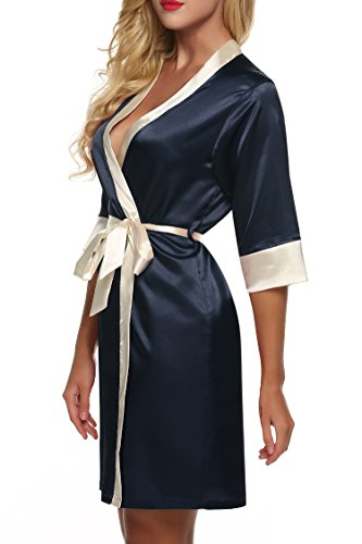 ZEARO Nouveau Style Sexy Robe De Nuit Kimono Satin Pyjamas Nightwear Femmes Dentelle Nuissette Avec Ceinture Bleu marin