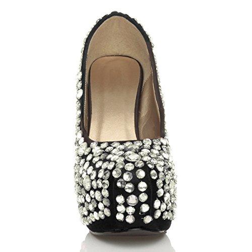 Donna tacco alto scarpe piattaforma gemma matrimonio festa décolleté taglia Nero / bianco
