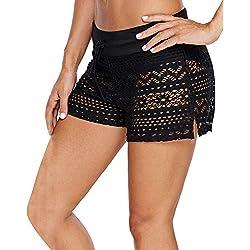 YAOMEI Donna Pantaloni da Nuoto Costumi da Bagno Donna Pantaloncini Bikini Costume Intero Moda da Bagno Shorts Swimwear Mare Drawstring Regolabile Boyleg Style (S, B-Nero)