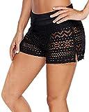YAOMEI Donna Pantaloni da Nuoto Costumi da Bagno Donna Pantaloncini Bikini Costume Intero Moda da Bagno Shorts Swimwear Mare Drawstring Regolabile Boyleg Style (XL, B-Nero)