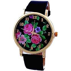 Bluelans® Women Ladies Rose Flower Printed Dial Leather Strap Quartz Wrist Watch Black