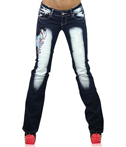 Crazy Age - Jeans - Bootcut - Femme Navy blue / Azure ( CB 033 )