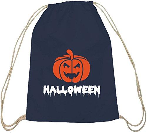 Halloween Grusel Kostüm natur Turnbeutel mit Halloween - Kürbis Motiv dunkelblau natur