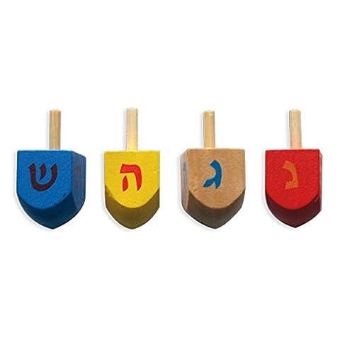 Farbige Holz chanuka-, Dreidel Dreydle für Chanukah, Chanukka Dreidel Geschenk für Kinder 4Stück