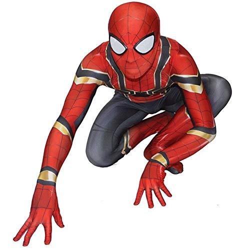 POIUYT Kinder Herren Jungen Deluxe Spiderman Kostüm Body Halloween Cosplay Comics Avengers Outfit Set Für (100-200cm) Elastisches Lycra,Child-XXL(140-150cm) (Superhero Dress Up Kostüme)