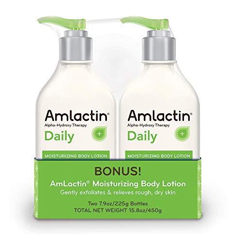 AmLactin Alpha-Hydroxy Therapy Moisturizing Body Lotion for Dry Skin, Fragrance-Free, 15.8oz Twin Pack (7.9oz per bottle) by AmLactin -