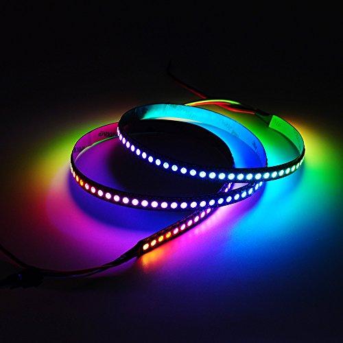 Preisvergleich Produktbild BTF-LIGHTING 1M 144 LEDs/Pixels/m WS2812B Schwarz PCB RGB adressierbare Strip Streifen mit 5050 SMD LEDs NichtWasserdicht IP30