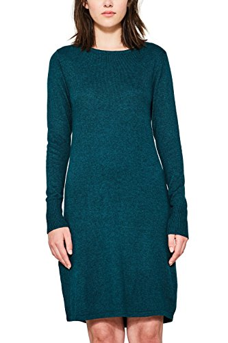 edc by ESPRIT Damen Kleid 087CC1E002, Grün (Dark Teal Green 375), Small