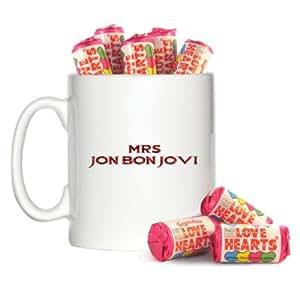 Mug design Mrs Jon Bon Jovi 296ml et 8mini tubes de Love Hearts