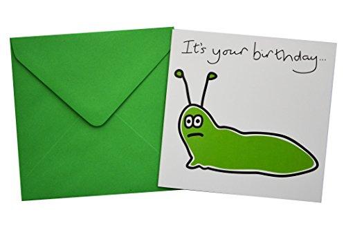 'Slug' Birthday card. Green enve...