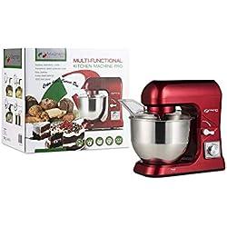 MAGNANI Robot Patissier Rouge, Robot Cuisine Multifonctions, Batteur Electrique Cuisine, Petrisseur de Pate, Bol Acier Inoxydable 5L, Malaxeur Melangeur 6 Vitesses