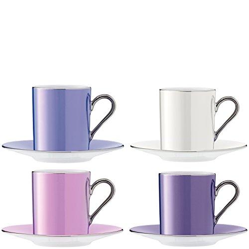 LSA International LSA Lunares Taza para Café& Platillo 0.1L - Pastel Surtido - Set de 4 - P05501355