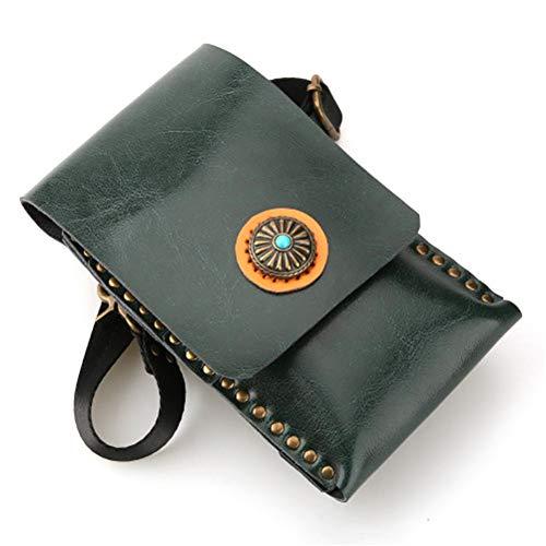 Véritable cuir professionnel coiffeurs ciseaux porte-valise étui,Green