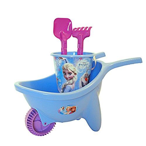 Frozen Schubkarre mit Eimergarnitur und Zubehör, ab 18 Monate • Disney Eisprinzessin Kinder Sand Spielzeug Schiebekarre