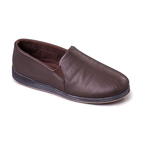 Padders Herren Leder Slipper 'Ben' | Weiches Leder Hausschuhe mit Memory Foam Einlegesohle | Breite G Passmaß | 30mm Ferse Braun