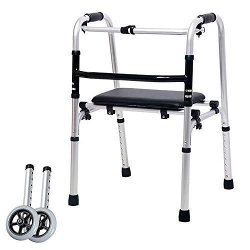 XIHAA Ältere Menschen Walker Höhe Verstellbar, Zusammenklappbar Aluminiumlegierung Riemenscheibe Behinderten Walking Rehabilitation Equipment Badezimmer Bad Stuhl (Dual Rädern)