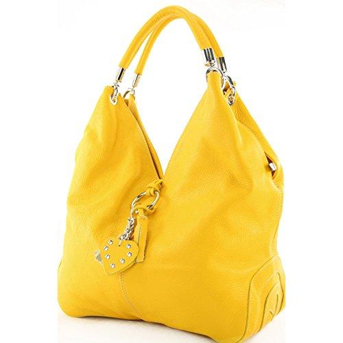 modamoda de - ital. Ledertasche Handtasche Shopper Damentasche Schultertasche Leder 330 Gelb