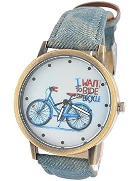 Souarts Damen Jeans grau Segeltuch Gekritzel Jugendliche Armreif Uhr mit Batterie Zifferblatt
