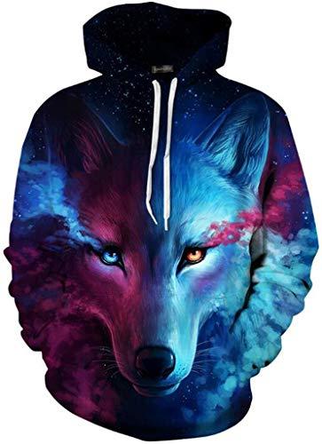 jeansian Herren Damen Junge Madchen Realistische 3D Digital Print Pullover Hoodie Mit Kapuze Fleece Sweatshirt LBH001 Blue S