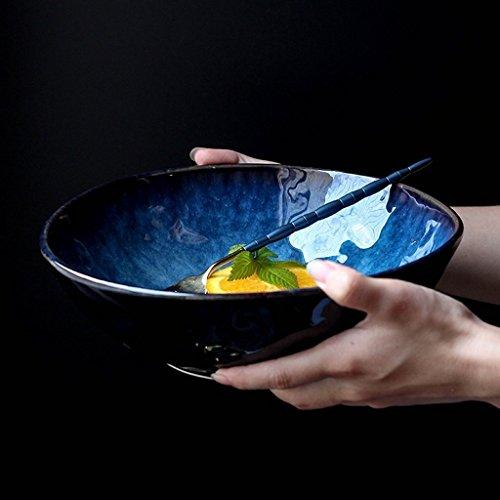 Gweat Japanisches Art-Blau-Retro- Keramisches Geschirr-kreative Ramen-Schüssel-große Suppenschüssel-Obstsalat-Schüssel (größe : M)