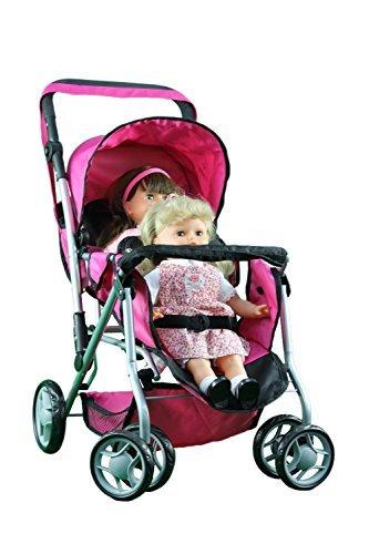 Judaica Platz frei Mommy & Me Twin Puppe Kinderwagen Rückseite an Rückseite mit drehbaren Rädern und Kutsche Tasche–9668