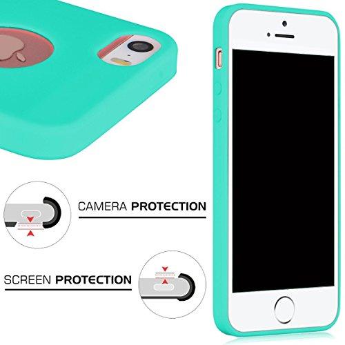 Cover iPhone SE,ToDo iPhone 5S Custodia Silicone Ultra Morbido Satinate Opaco Ultra Sottile TPU Flessibile Gomma Cassa Protettiva Gel [Anti-scivolo] [Anti-Graffio] [Antiurto] Leggero Cellulari Protett Menta verde