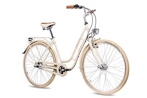 CHRISSON 28 Zoll Retro Citybike Damen - N Lady 3G Creme - Damen-City-Fahrrad mit Shimano Nexus 3 Gang Nabenschaltung im Retro Design, Vintage Damenfahrrad mit Rücktrittbremse und Gepäckträger