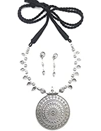 Glomi Ocean Oxidised German Silver Ethnic Necklace Set For Women And Girls ( Black)