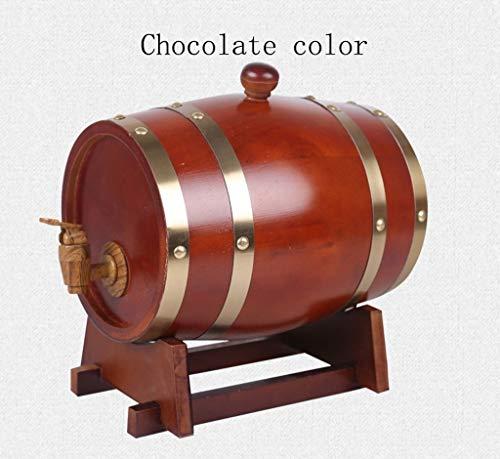 KAHI 1.5L/3L/5L/10LWeinfass, Vintage Holz Eichenfass für Speicherung Rotwein Bier Likör Brandy Tequila (Color : Chocolate Color) -