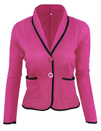 LRUD Damen Langarm Patchwork Black Rim Business Anzug Jacke Büro Bunte Blazer mit Tasche