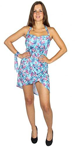 Foxxeo sexy Kleid mit Blumenprint Hawaii Kostüm für Damen | Gr. XS, S, M, L, XL | Damenkostüm Sommerkleid rückenfrei Party Partykleid Strandkleid türkis pink Blumen Sommerparty Hawaiiparty, ()