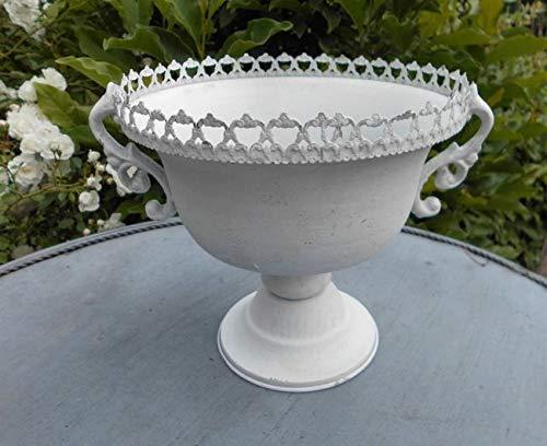 Deko-Impression Übertopf Amphore Pflanztopf Vase Pokal Kelch Eisen Antik-Look Weiss