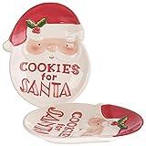 infactory Weihnachtsteller: 2er-Set Keks-Teller mit Weihnachtsmann-Motiv, Cookies for Santa (Adventsteller)